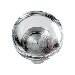 "Hafele Hardware - Astral - 1 1/2"" Diameter Knob in Clear / Stainless Steel Matte"