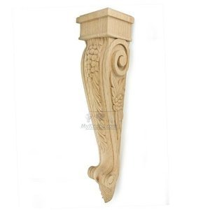 "Hafele Cabinet Hardware - Bordeaux - 24"" Tall Hand Carved Wooden Corbel in Oak"