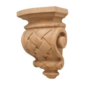 "Hafele Cabinet Hardware - Cottage - 9"" Tall Hand Carved Wooden Corbel in Cherry"