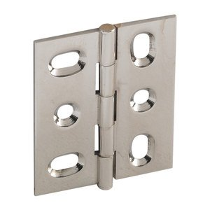 Hafele Hardware - Mortised Butt Hinges - Mortised Decorative Butt Hinge with Button Finial in Polished Nickel