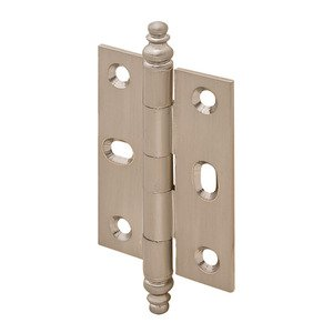 Hafele Cabinet Hardware - Mortised Decorative Butt Hinge with Minaret Finial in Brushed Nickel